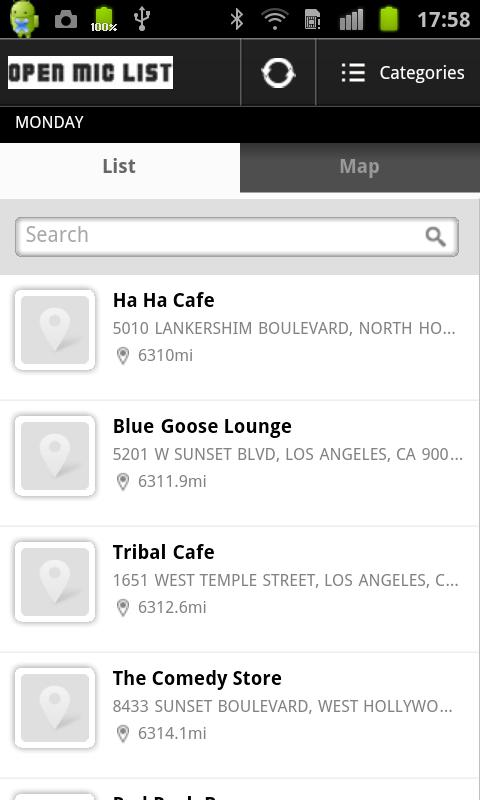Open Mic List - screenshot