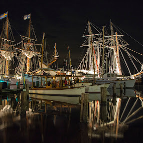 lighting up the down rigging by Deborah Felmey - Transportation Boats ( calm, lights, tall ships, boats, reflections, water, device, transportation,  )