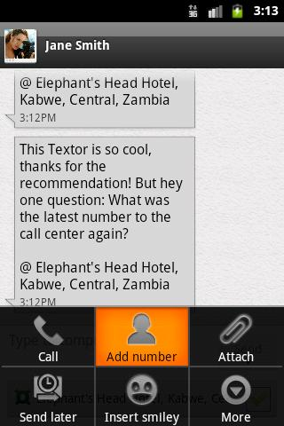 Textor - SMS with location- screenshot
