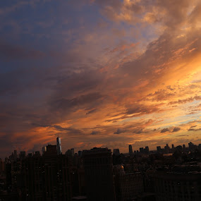 Manhattan At Sunset by VAM Photography - City,  Street & Park  Skylines ( cities, sunset, buildings, nyc, places,  )