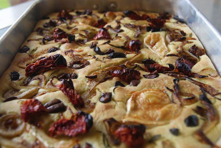 Focaccia with Caramelized Onion, Tomato, and Goat Cheese Recipe