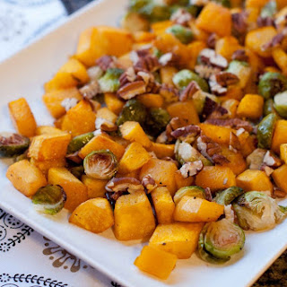 Maple Roasted Pumpkin with Brussels Sprouts