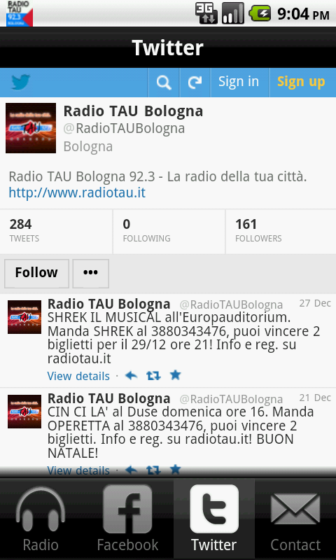 Radio TAU 92.3 Bologna- screenshot