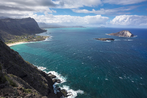Makapuu-Waimanalo-beaches-Oahu - Makapuu and Waimanalo beaches with Manana Island at right, all part of Oahu.