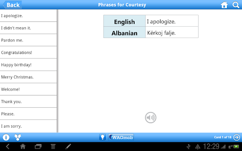 Learn Albanian by WAGmob - screenshot thumbnail