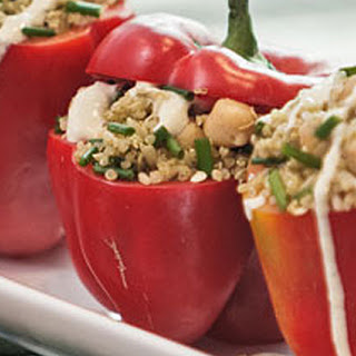 Stuffed Peppers with Cashew Sauce.