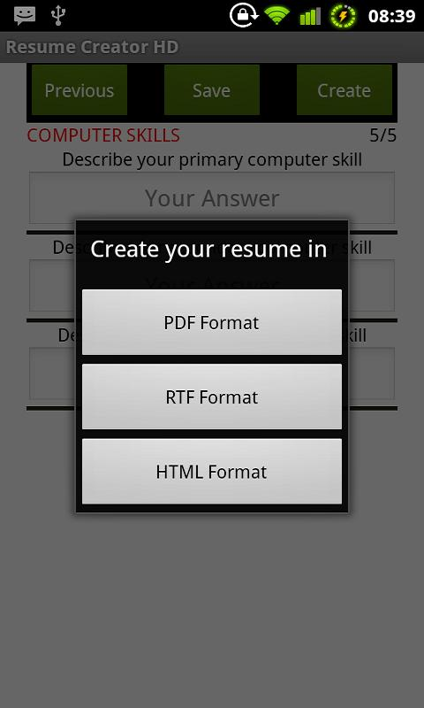 resume creator hd html screenshot - Resume In Html Format