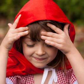 Shy Little Red by Jennifer Bacon - Public Holidays Halloween ( little red riding hood, little girl, fall, costume, shy )