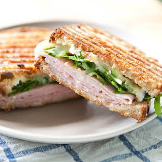 Ham, Brie, Marmalade and Arugula Pressed Sandwich.