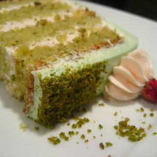 Goodnight Rose: Pistachio-Cardamom Cake with Rosewater Frosting.