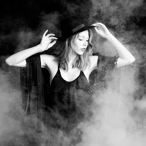 Witchy by Dale Frazier - People Portraits of Women ( sadness, black and white, low key, adjusting, artisitic, witchcraft, halloween, glamor, holiday, red, fog, witch, beautiful lady, black,  )