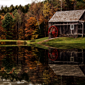 The Old Mill by Janet Lyle - Buildings & Architecture Public & Historical ( mill, fall, reflections )