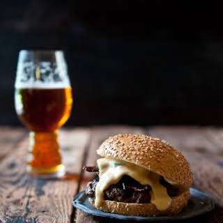 Jalapeno Beer Cheese Burger with Beer Candied Bacon.