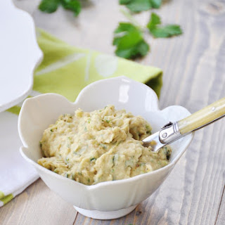 Cannellini Bean Dip on Cucumber Chips.