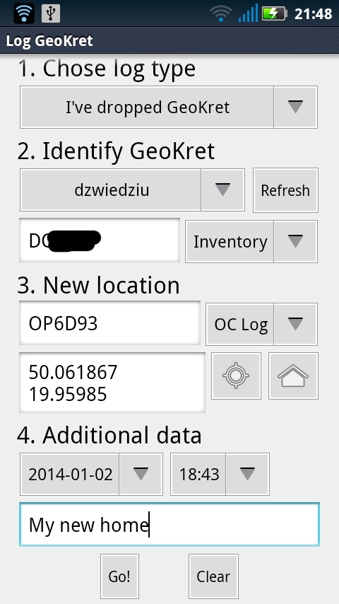 GeoKrety Logger- screenshot