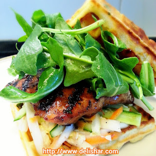 Grilled Lemongrass Chicken Waffle Burger