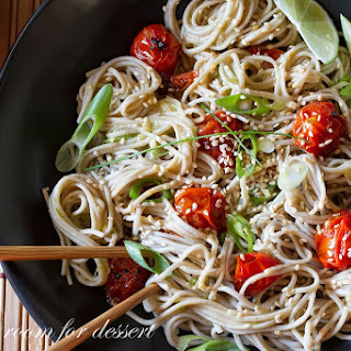 Miso-Roasted Tomatoes with Soba Noodles.