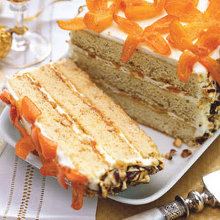 Hazelnut Crunch Cake with Honeyed Kumquats.