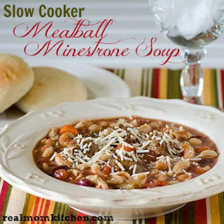 Slow Cooker Meatball Minestrone Soup.