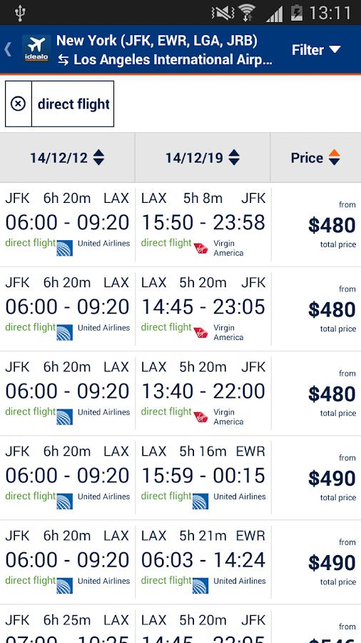 idealo Flight Comparison- screenshot