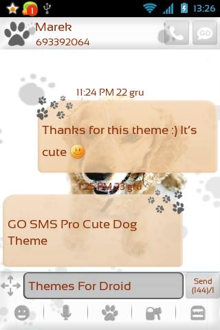 GO SMS Pro Cute Dog Theme - screenshot