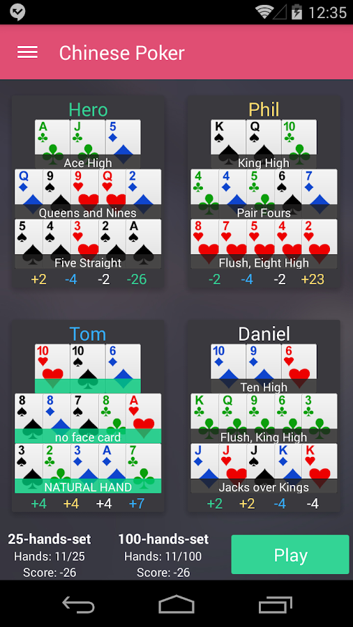 Chinese Poker- screenshot