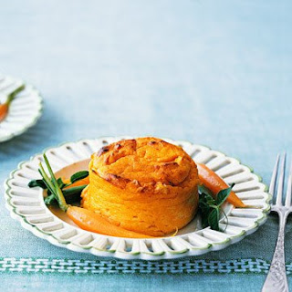 Carrot Pudding Souffles with Buttered Spring Vegetables.