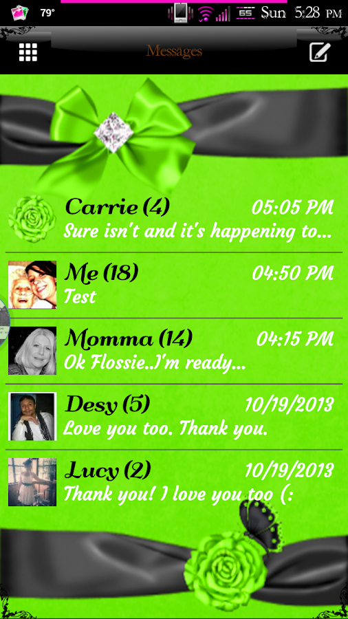 Simply Lime GO SMS PRO Theme - screenshot