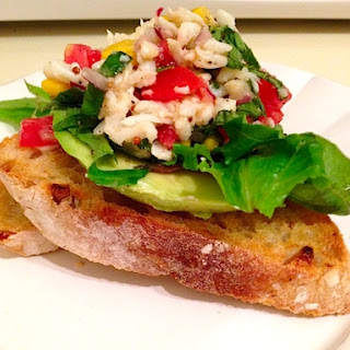 Open Faced Crab Salad Sandwiches with Lemon Basil Dressing