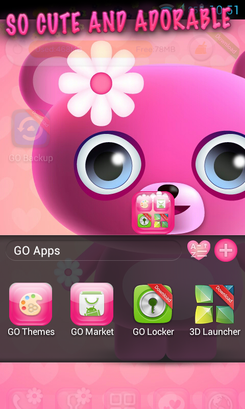 Cute Pink Go Launcher Theme - screenshot