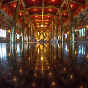 Wat Neramit Wiphatsana in Loei by Waraphorn Aphai - Buildings & Architecture Places of Worship ( loei, fisheye, reflections, golden, buddha, wat neramit wiphatsana )