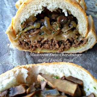 Mushroom Swiss Cheeseburger Stuffed French Bread.