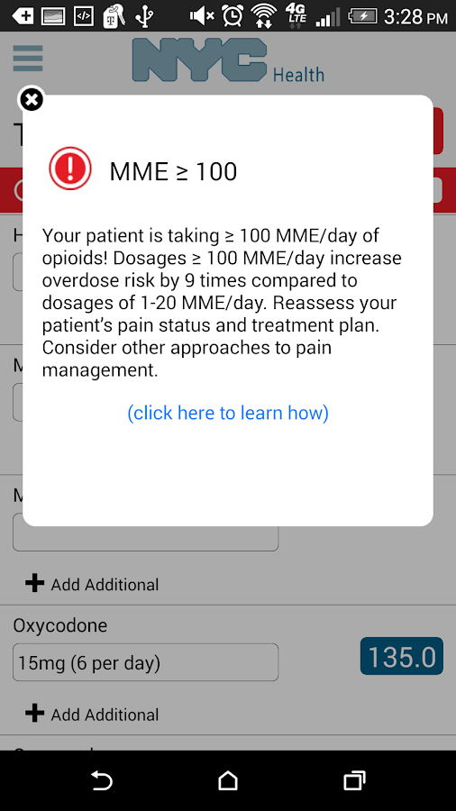OpioidCalc- screenshot