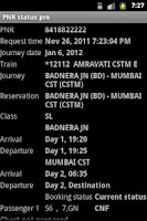 Screenshot of PNR status pro