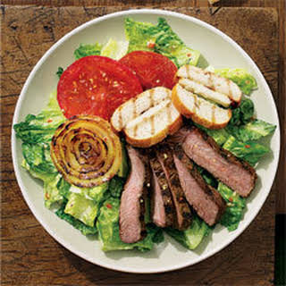 Beefy Steak Salad With Grilled Italian Cheese Croutons.
