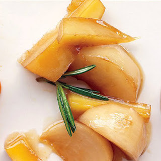 Glazed Turnips and Parsnips with Maple Syrup.