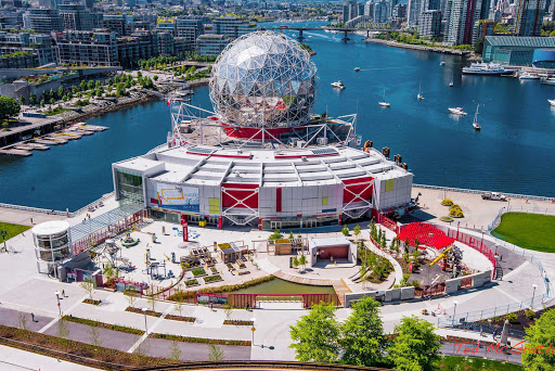 aerial-science-world-Vancouver-British-Columbia - An aerial photo of Science World in Vancouver, British Columbia