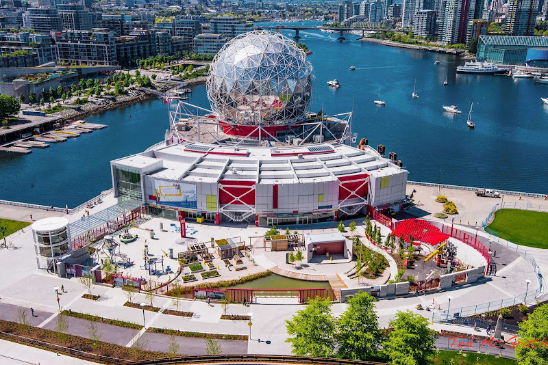 An aerial photo of Science World in Vancouver, British Columbia