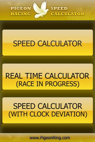 PIGEON RACING SPEED CALCULATOR - screenshot