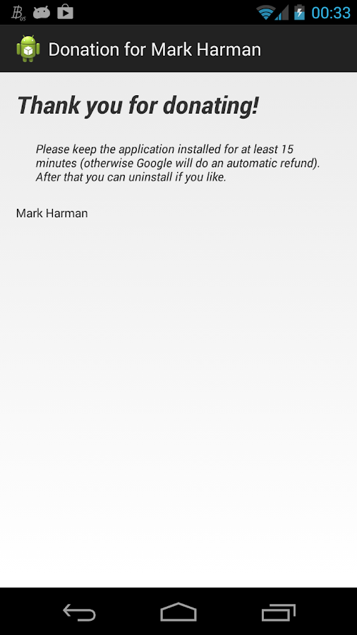 Donation for Mark Harman - screenshot