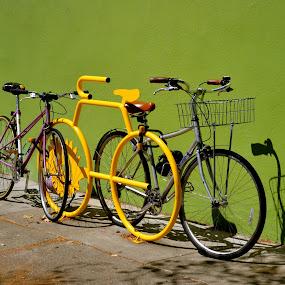 Bike Parking, San Francisco by Kathleen Koehlmoos - Transportation Bicycles ( san franciso, san francisco streets, bike friendly, bike parking, streets of san francisco, yellow bike,  )
