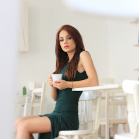 Morning coffee by Stanica Marius - People Fashion ( green, dress, coffee, bar, morning )