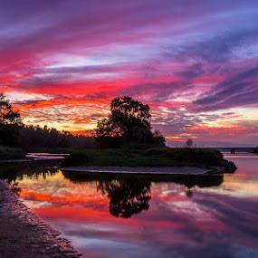 Reflexions by Ricardo  Guimaraes - Landscapes Waterscapes ( warm, color, waterscape, sunset, quiet, portugal, reflexion, landscapes, river,  )