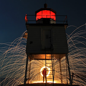 Go to the light! by Jamie Rabold - Abstract Light Painting ( abstract, burning wool, steel wool, lightpainting, lake superior, spinning wool, th, two harbors )