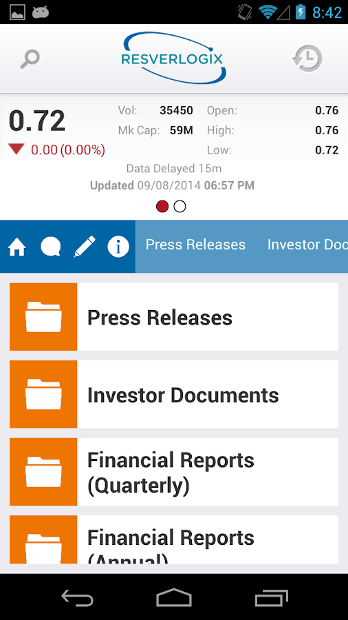 Resverlogix Corp. IR - screenshot