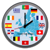 Europe Flags Widget Clock