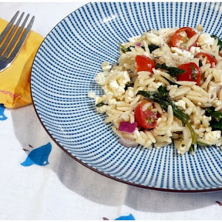 Orzo Salad with Cherry Tomatoes, Feta, Spinach and Mint.