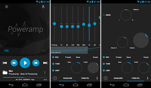 Poweramp skin 8in1 Flat Dark- screenshot thumbnail