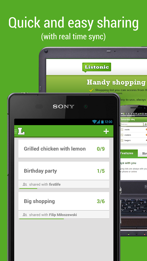 Shopping list - Listonic - screenshot