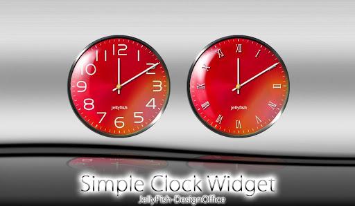 シンプルアナログ時計ウィジェット【RED】